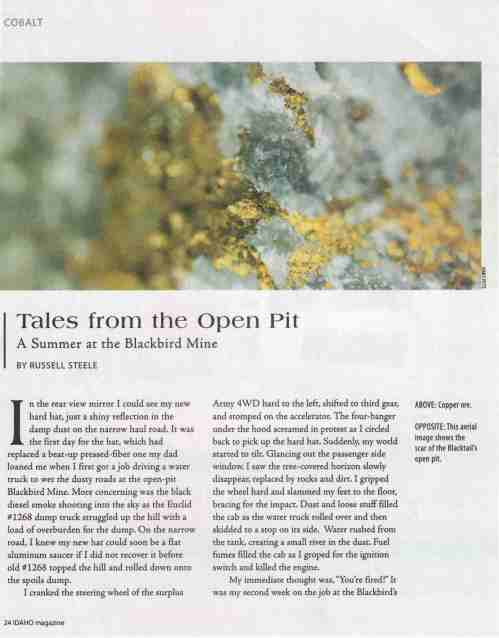 Page One of Open Pit Story